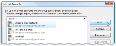 Picture of the Internet Accounts screen in Windows Mail